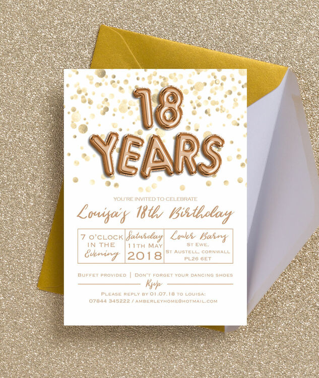 Gold balloon letters 18th birthday party invitation from 100 each gold balloon letters 18th birthday party invitation additional 2 thecheapjerseys Images