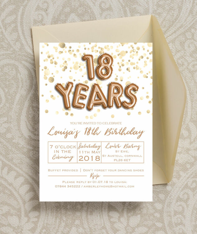 Gold Balloon Letters 18th Birthday Party Invitation Additional 4