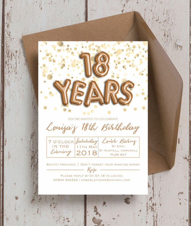 Gold Balloon Letters 18th Birthday Party Invitation additional 1 ...
