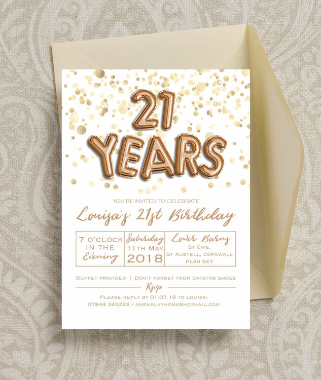 gold balloon letters 21st birthday party invitation from 0 90 each