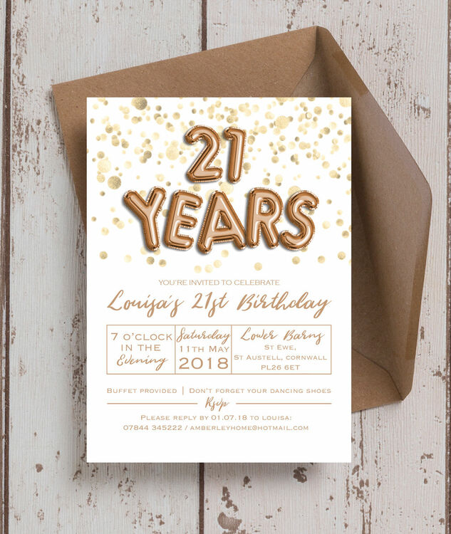 Gold Balloon Letters 21st Birthday Party Invitation Additional 1