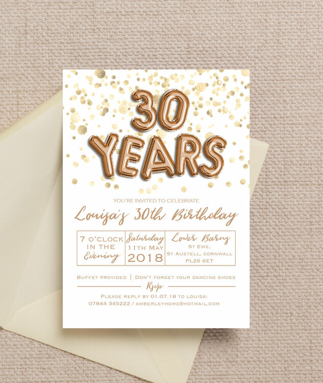 Gold Balloon Letters 30th Birthday Party Invitation Additional 3