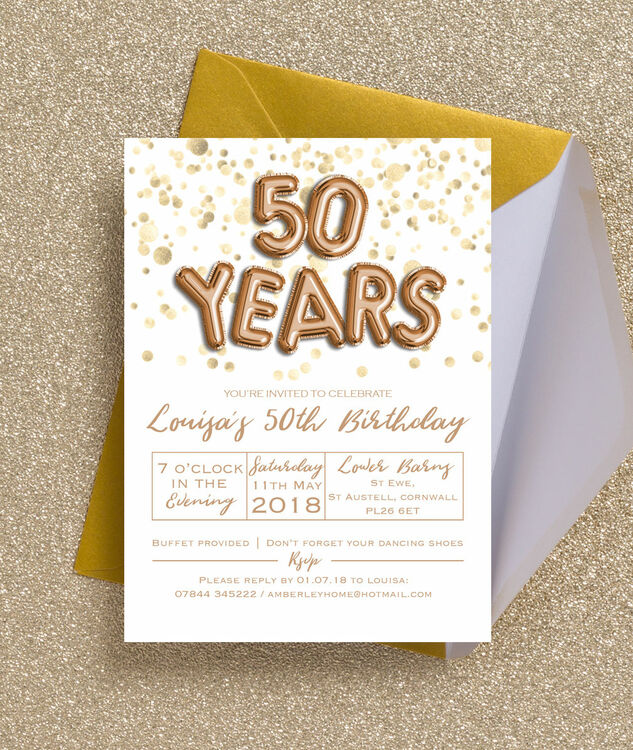 Gold Balloon Letters 50th Birthday Party Invitation Additional 2
