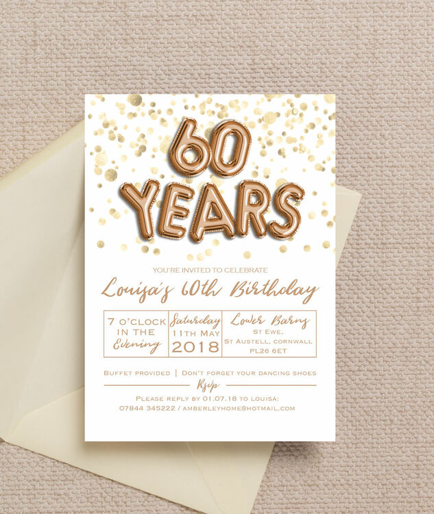 gold balloon letters 60th birthday party invitation from  u00a3