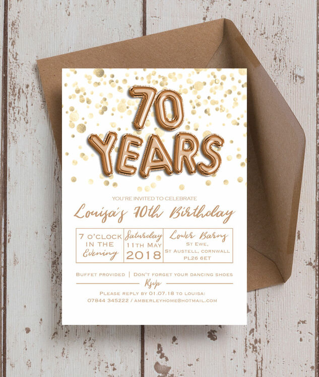 Gold Balloon Letters 70th Birthday Party Invitation Additional 1