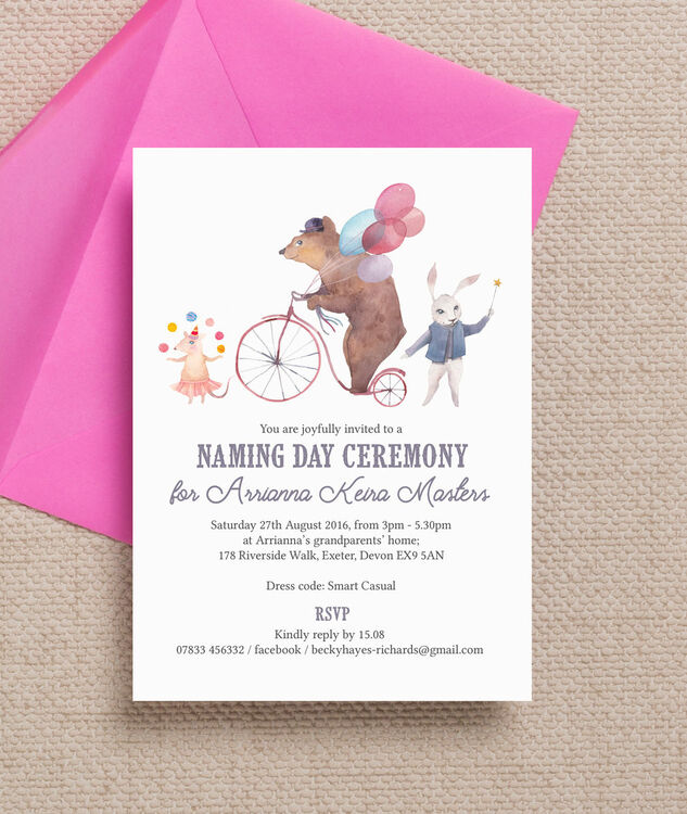 circus friends naming day ceremony invitation from 0 80 each