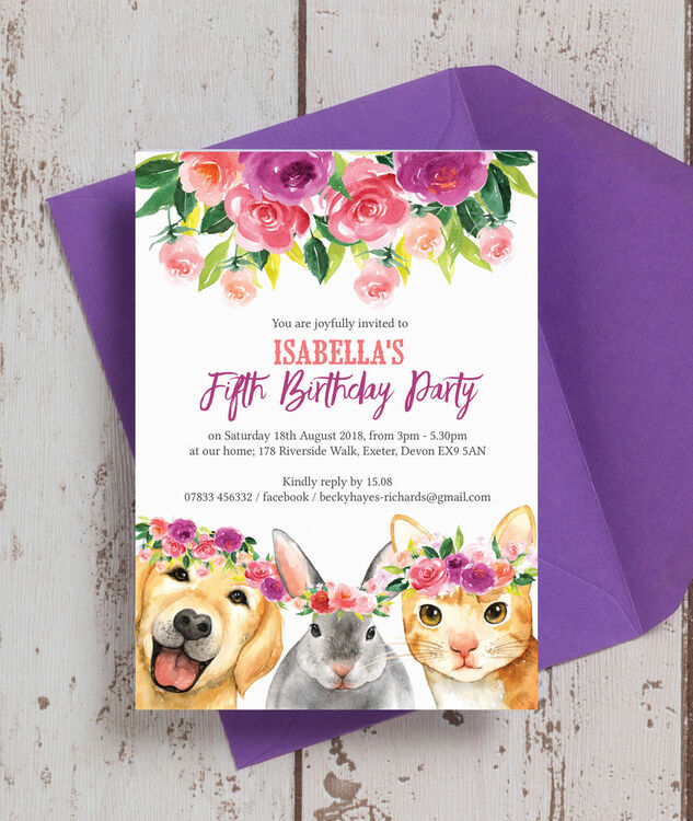 flower crown animals birthday party invitation from 0 80 each