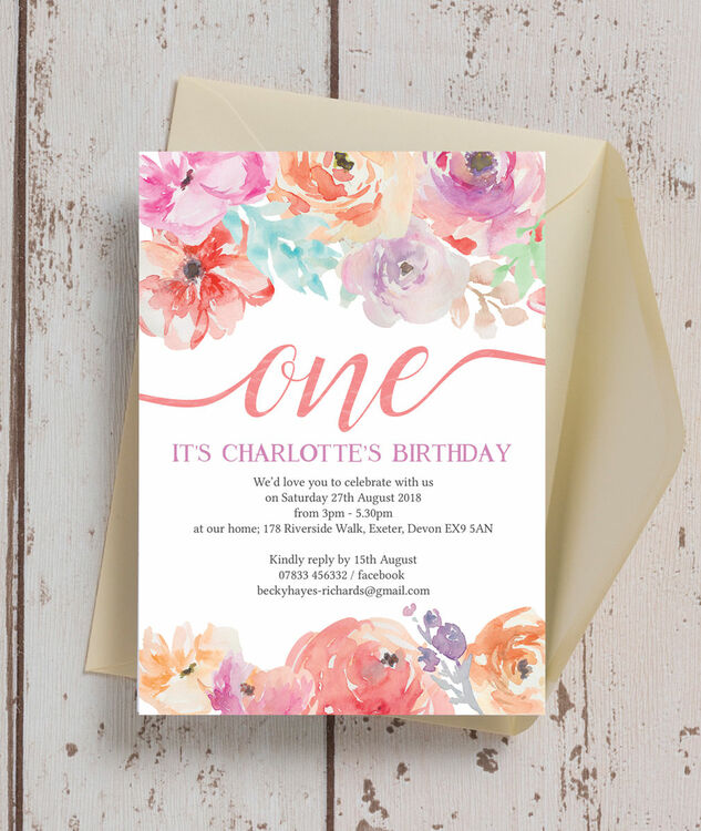 pastel floral birthday party invitation from  u00a30 80 each