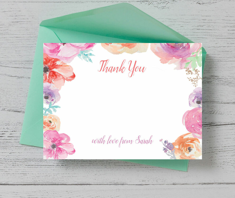 pastel floral thank you card from £075 each