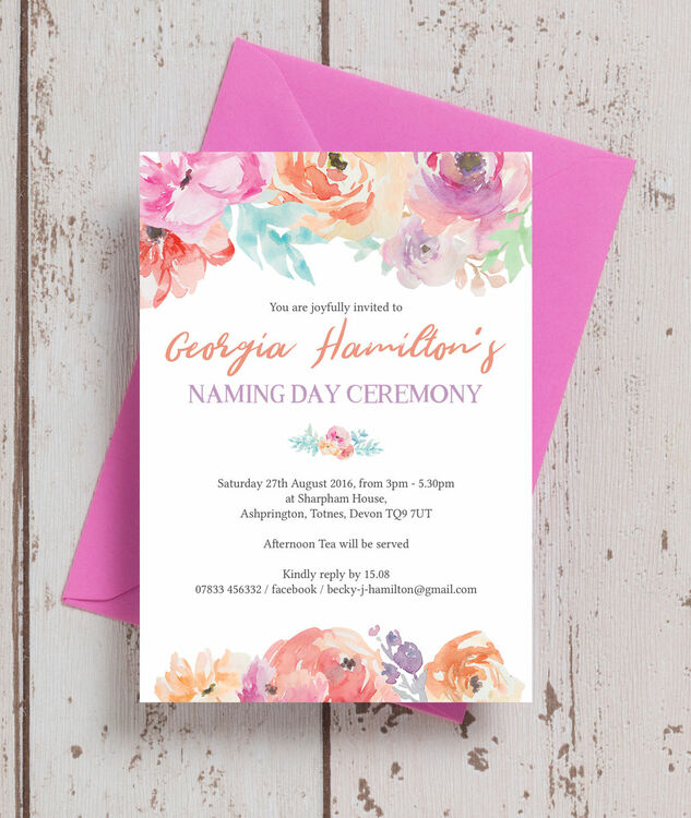 pastel floral naming day ceremony invitation from 0 80 each