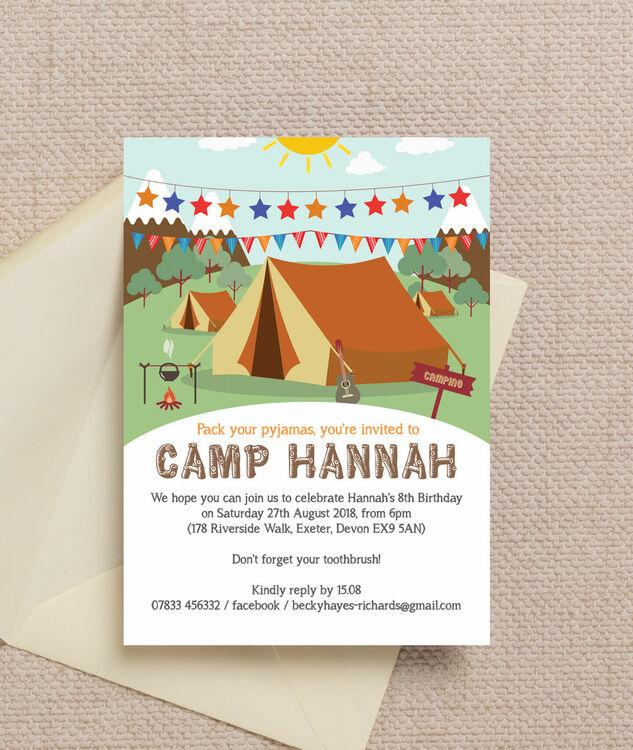 Camping Theme Invitations