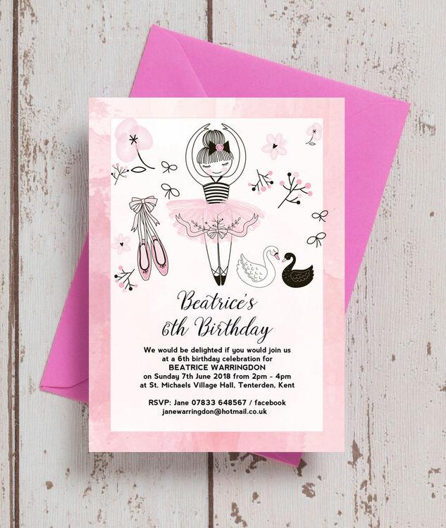 prima ballerina birthday party invitation from  u00a30 80 each