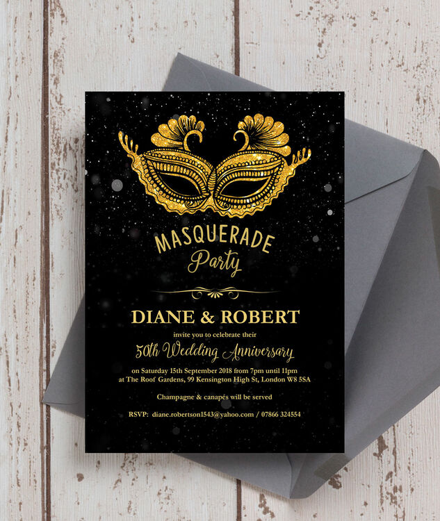 Black Gold Masquerade 50th Golden Wedding Anniversary Invitation Additional 2