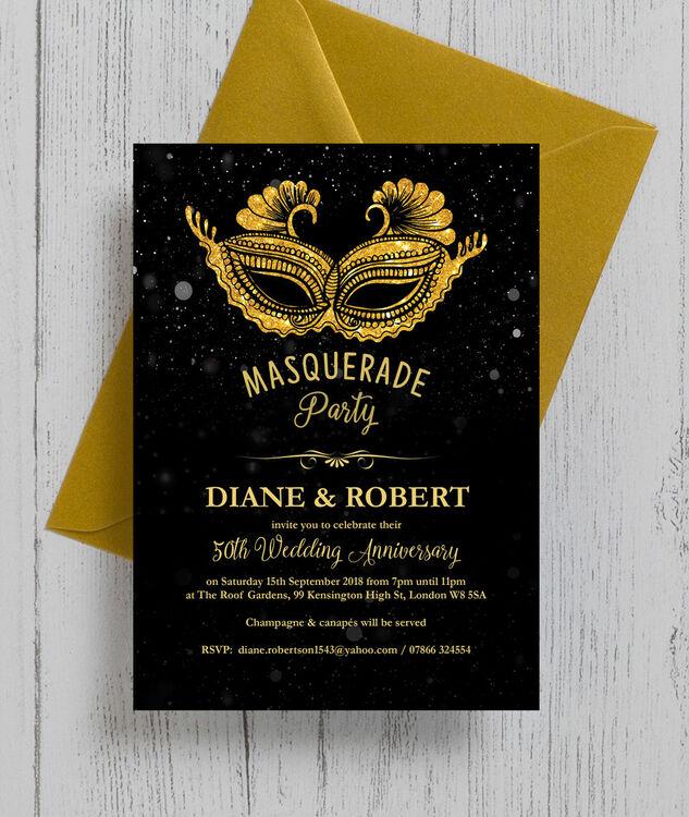 50th Wedding Anniversary Invitations.Masquerade Ball 50th Golden Wedding Anniversary Invitation