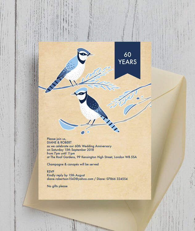 ... Painted Birds 60th / Diamond Wedding Anniversary Invitation Additional 3
