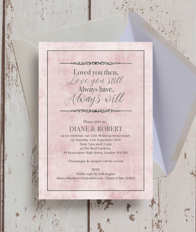 Pastel Pink Quote 25th Silver Wedding Anniversary Invitation from