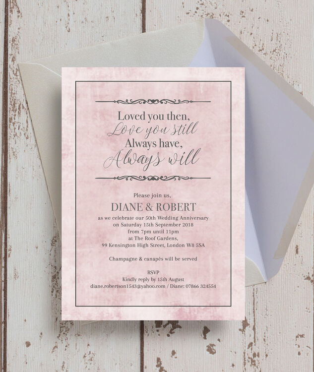 ... Pastel Pink Quote 50th / Golden Wedding Anniversary Invitation  Additional 2