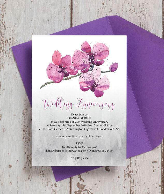 Orchid Flower 25th / Silver Wedding Anniversary Invitation from ...