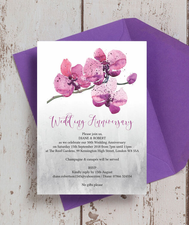 Orchid Flower 50th / Golden Wedding Anniversary Invitation Additional 1 ...