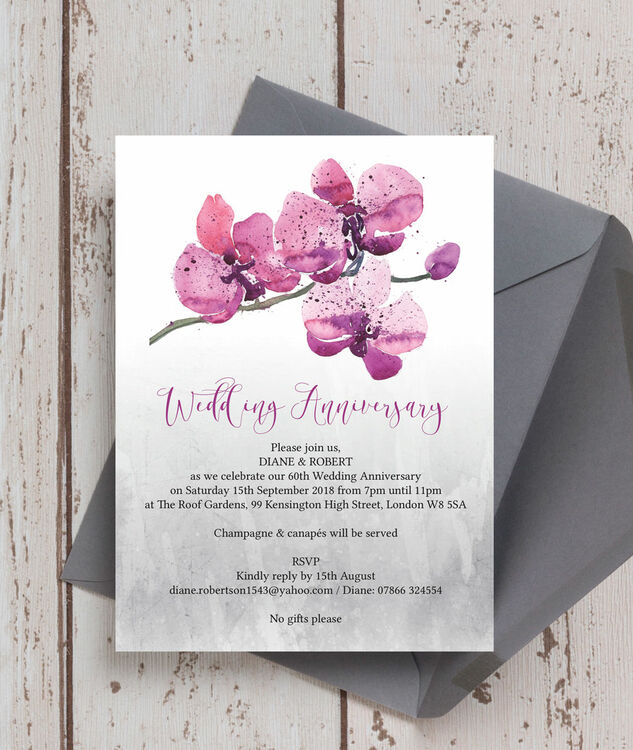 Orchid Flower 60th / Diamond Wedding Anniversary Invitation Additional 1 ...