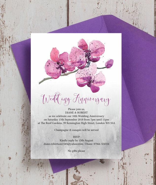 Orchid flower wedding anniversary invitation from 090 each orchid flower wedding anniversary invitation additional 1 stopboris Gallery
