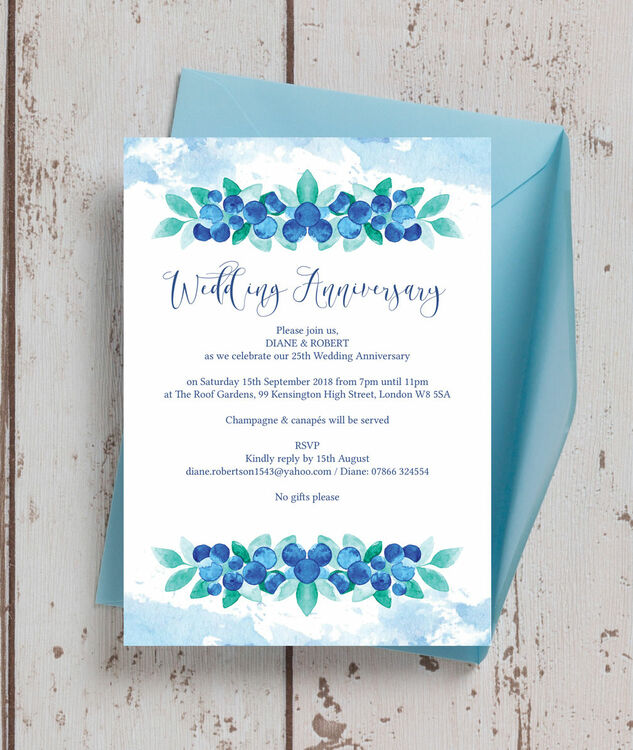 blueberry 25th silver wedding anniversary invitation from 0 90 each