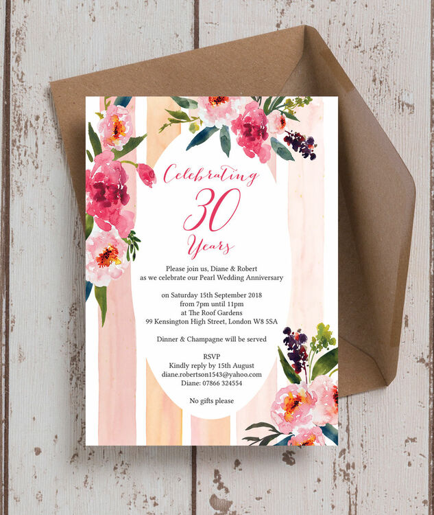 painted peonies 30th pearl wedding anniversary invitation from