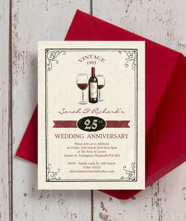 Vintage Wine Themed 25th / Silver Wedding Anniversary