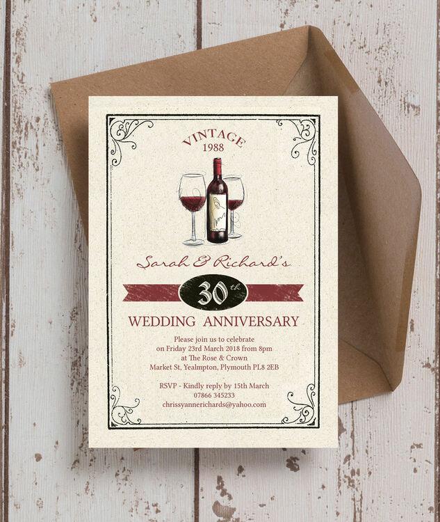 30th Wedding Anniversary Invitations: Vintage Wine Themed 30th / Pearl Wedding Anniversary