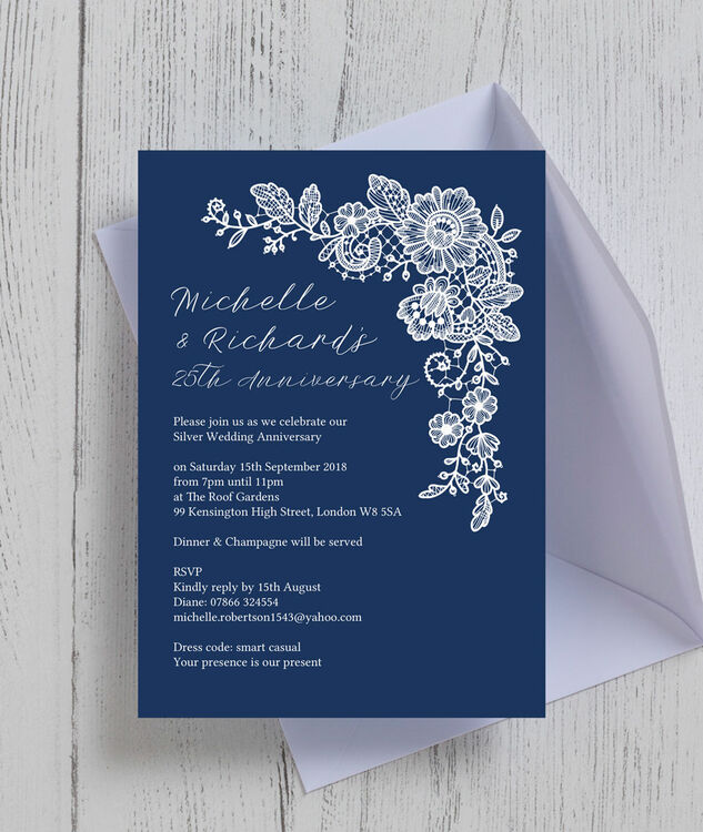 Navy blue floral lace 25th silver wedding anniversary invitation navy blue floral lace 25th silver wedding anniversary invitation additional 1 solutioingenieria Images