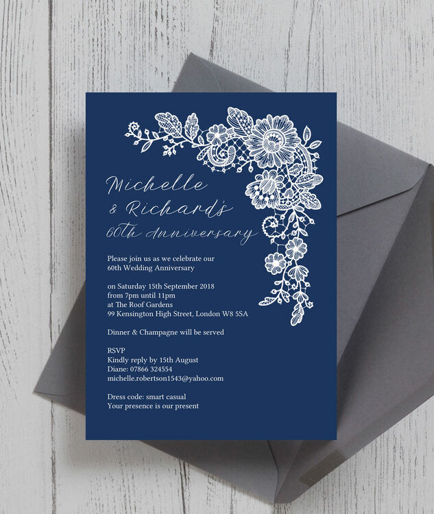 Navy Blue Floral Lace 60th / Diamond Wedding Anniversary Invitation ...