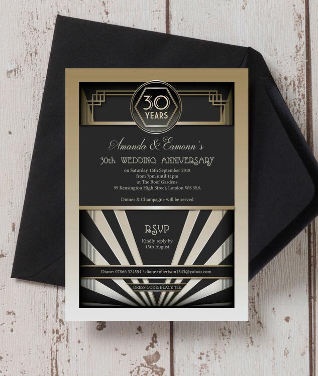 1920s Art Deco 30th / Pearl Wedding Anniversary Invitation ...