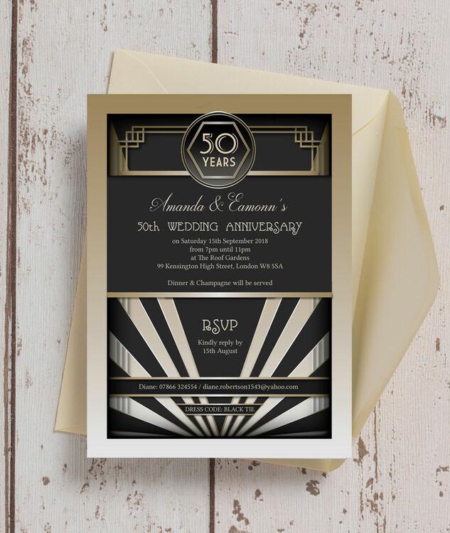 1920s art deco 50th golden wedding anniversary invitation from 1920s art deco 50th golden wedding anniversary invitation additional 3 stopboris Choice Image