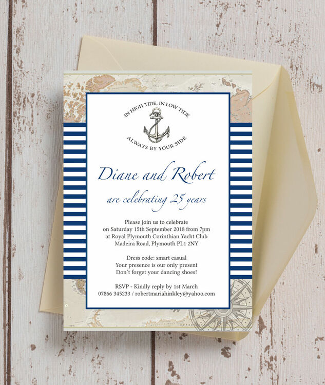 Nautical themed 25th silver wedding anniversary invitation from nautical themed 25th silver wedding anniversary invitation additional 2 stopboris Gallery