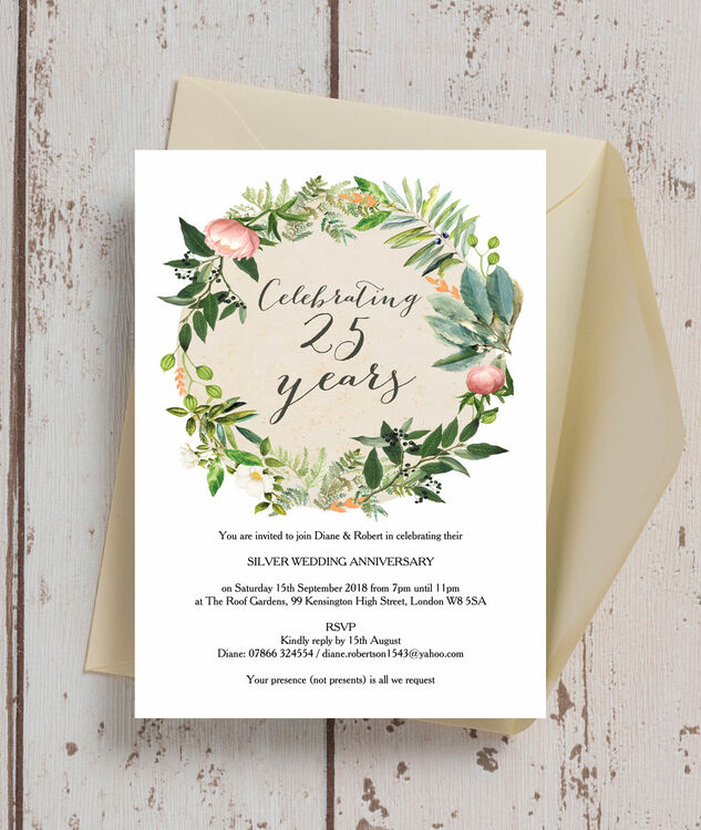 Floral Wreath 25th / Silver Wedding Anniversary Invitation additional 1 ...