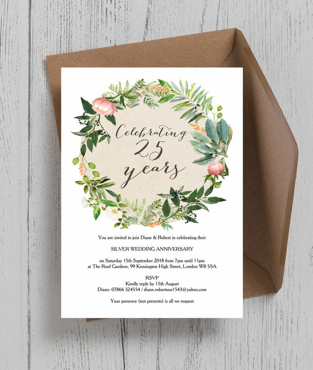 floral wreath 25th silver wedding anniversary invitation from