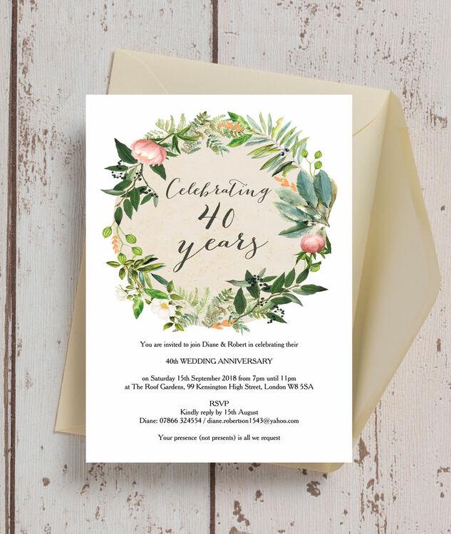 Wedding Anniversary Flower: Floral Wreath 40th / Ruby Wedding Anniversary Invitation