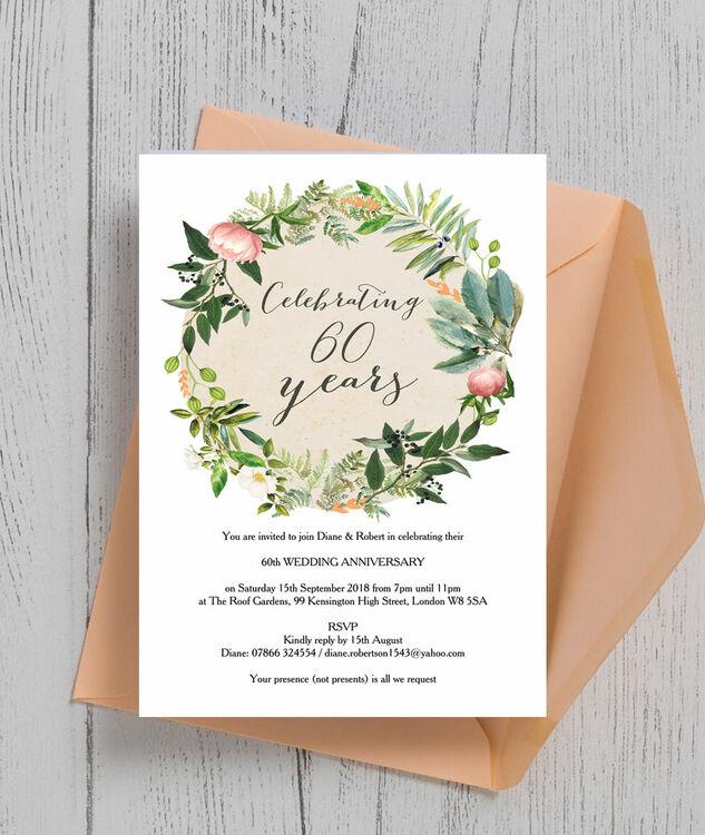 Wedding Anniversary Invitations: Floral Wreath 60th / Diamond Wedding Anniversary