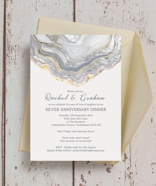 Agate crystal 25th silver wedding anniversary invitation from agate crystal 25th silver wedding anniversary invitation additional 4 solutioingenieria Gallery