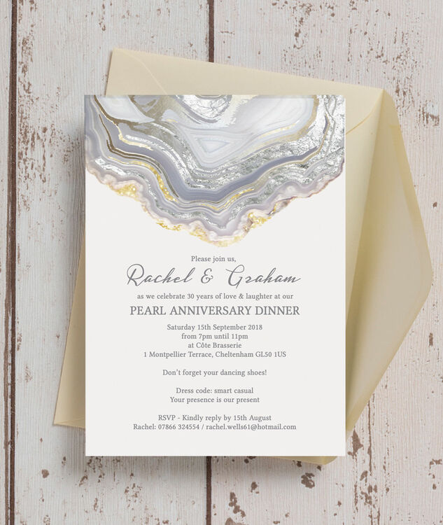 agate crystal 30th pearl wedding anniversary invitation from 0 90