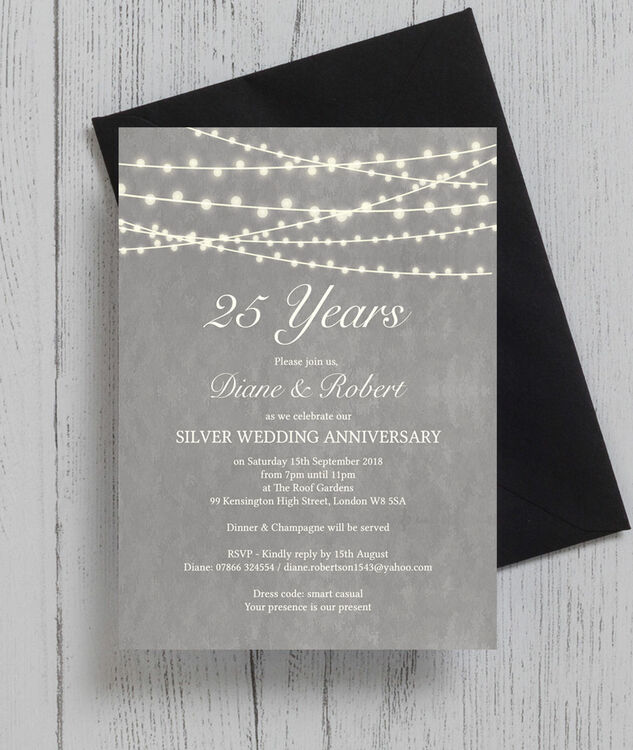 ... Grey Fairy Lights 25th / Silver Wedding Anniversary Invitation additional 3 ...