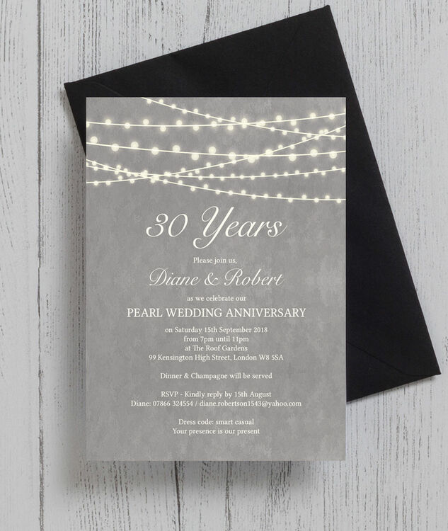 Grey fairy lights 30th pearl wedding anniversary invitation from grey fairy lights 30th pearl wedding anniversary invitation additional 3 stopboris Image collections