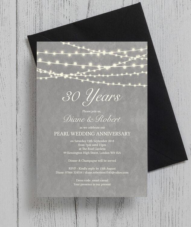 Grey fairy lights 30th pearl wedding anniversary invitation from grey fairy lights 30th pearl wedding anniversary invitation additional 3 stopboris Gallery