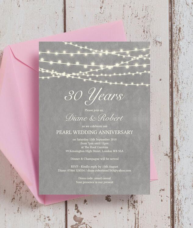 Grey Fairy Lights 30th Pearl Wedding Anniversary