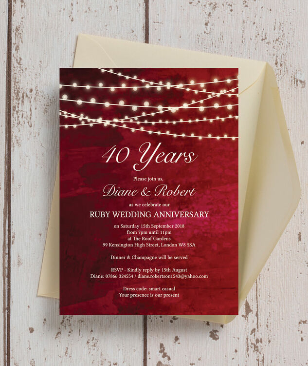 Personalised Red Fairy Lights 40th / Ruby Wedding Anniversary Invitation