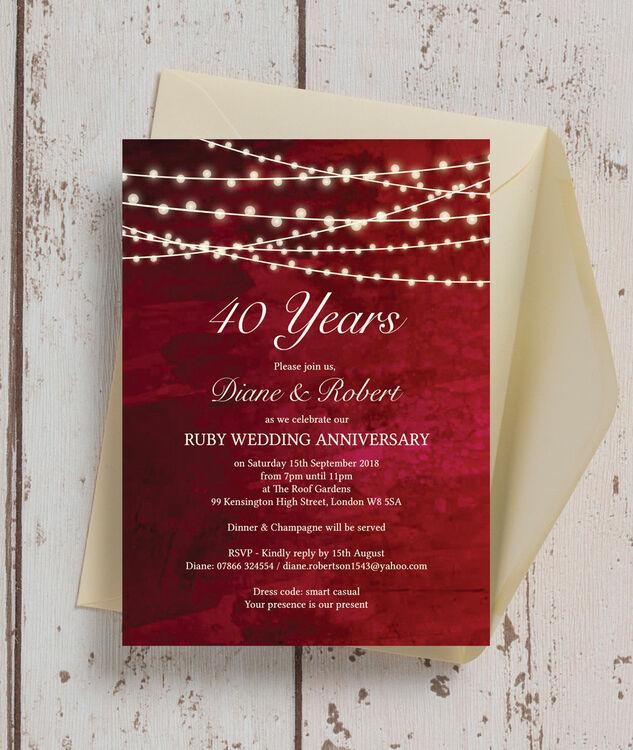 Red Fairy Lights 40th Ruby Wedding Anniversary Invitation