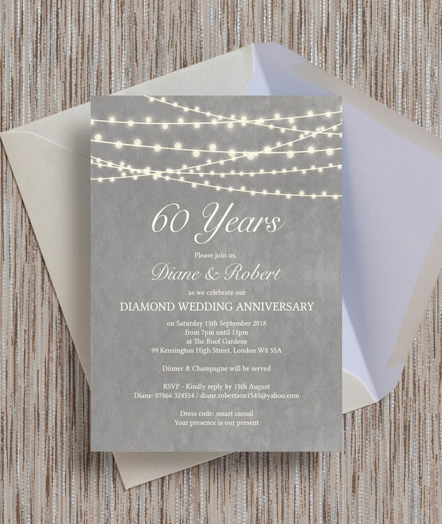 Grey Fairy Lights 60th Diamond Wedding Anniversary Invitation from