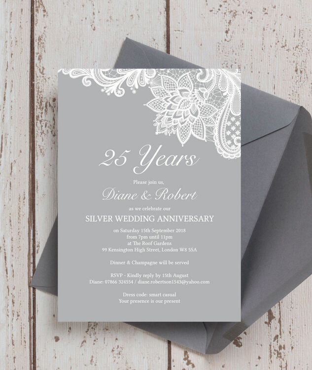 25th Wedding Anniversary Invitations: Vintage Lace Themed 25th / Silver Wedding Anniversary