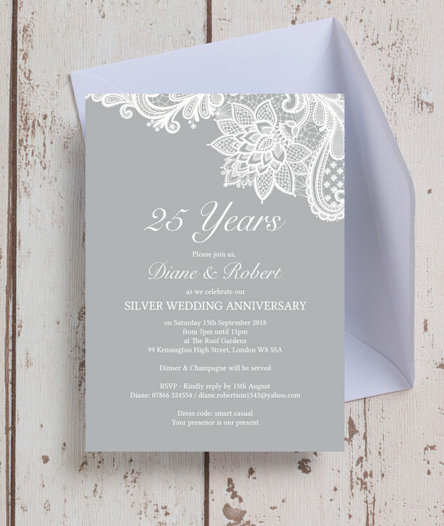 Vintage Lace Themed 25th / Silver Wedding Anniversary Invitation additional 1 ...