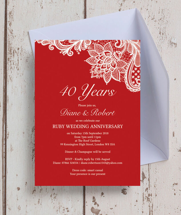Red Lace Inspired 40th Ruby Wedding Anniversary Invitation From